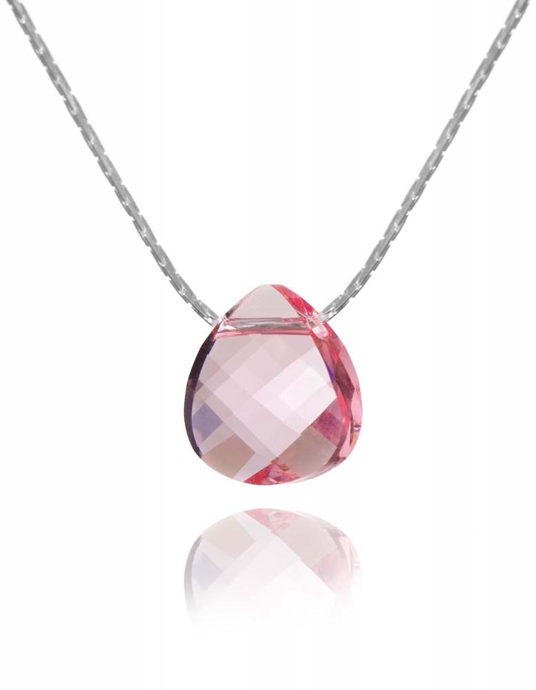 Колие с кристал Swarovski, Flat Briolette 15 мм, Light Rose, синджир