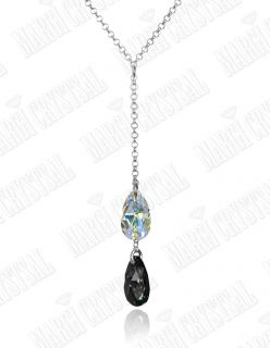 Колие с кристали Swarovski, Капка (Pear-shaped) Aurore Boreale/Silver Night, сребро 925