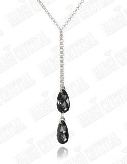 Колие с кристали Swarovski, Капка (Pear-shaped) Silver Night, сребро 925