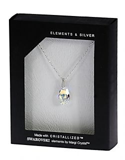 Колие с кристал Swarovski  Капка (Pear-shaped) 16 мм, сребро 925