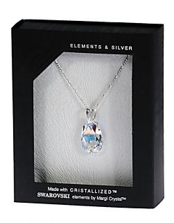 Колие с кристал Swarovski Капка (Pear-shaped) 22 мм, Aurore Boreale, сребро 925