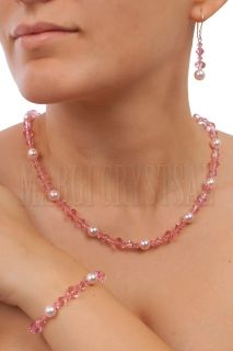 Kолие с мъниста Swarovski и перли Swarovski,  Light Rose/Rosaline