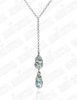 Колие с кристали Swarovski Капка (Pear-shaped) Aurore Boreale, сребро 925