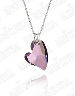 "Колие Сърце ""Devoted 2 U Heart"" 27 мм, Antique Pink, сребро 925"