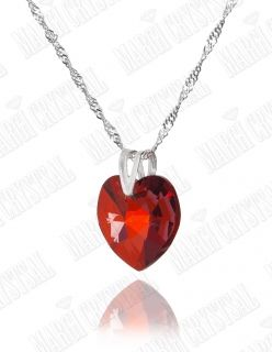 Колие с кристал Swarovski Сърце 18 мм, Red Magma, сребро 925