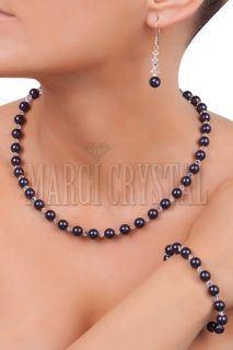 Комплект с перли Swarovski и кристали Swarovski, Dark Purple