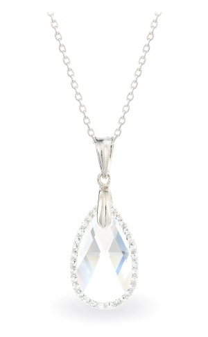 Колие с кристали Swarovski Капка (Pear-shaped) 22 мм, сребро 925