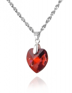 Комплект с кристали Swarovski  Сърце 18 мм, Red Magma