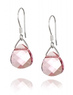 Обеци с кристали Swarovski, Flat Briolette, Light Rose, сребро 925