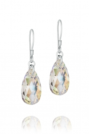 Комплект с кристали Swarovski Капка (Pear-shaped) 22 мм, Aurore Boreale, сребро 925