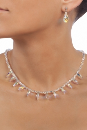 Комплект с кристали Swarovski Капка (Pear-shaped) 16 мм, Aurore Boreale, сребро 925