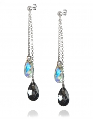 Обеци с кристали Swarovski, Капка (Pear-shaped) Aurore Boreale/Silver Night, сребро 925