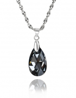Колие с кристал Swarovski Капка (Pear-shaped) 22 мм, Silver Night, синджир