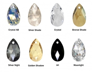 Комплект с кристали Swarovski  Капка (Pear-shaped) 28/16мм, сребро 925